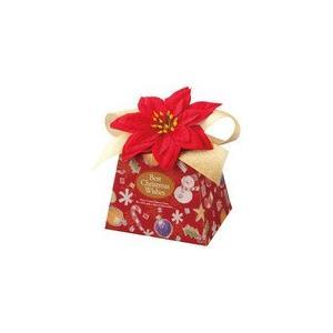 ハワイアン雑貨 造花ポインセチア付き クリスマス ギフトボックス (レッド)|holoholo