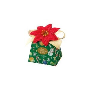 ハワイアン雑貨 造花ポインセチア付き クリスマス ギフトボックス (グリーン)|holoholo