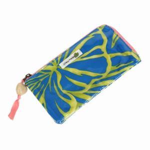 ハワイアン雑貨 ハワイアン 雑貨 ハワイアン 財布 フラットパース(ブルー/イエローグリーン)メール便対応可 holoholo