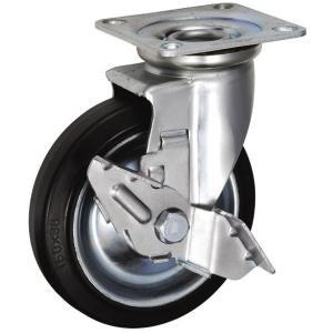 HJSタイプ 中荷重用ストッパー付旋回キャスター サイズ150mm 鋼板製ウレタンゴム 【 HJS-150 】|home-design