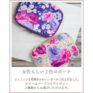 圧縮バッグ トラベルポーチ かわいい ファスナー式 花柄 パープル アイボリー|homegoody-wg|03