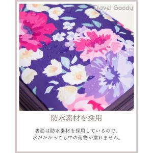 圧縮バッグ トラベルポーチ かわいい ファスナー式 花柄 パープル アイボリー|homegoody-wg|05