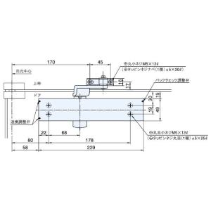 送料無料 RYOBI リョービ ドアクローザー(ドアチェック) 20 SERIES (バックチェックオプション装着仕様)スタンダード型 B22 ストップなし|homematerial