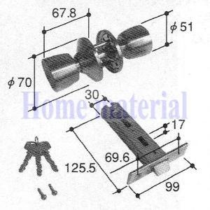 立山アルミ 玄関ドア 錠 PKD4125 アルファ製 アパートドア用|homematerial