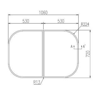 お風呂のふた INAX 風呂ふた 組みふた YFK-1175B(9) サイズ:幅530×奥行720mm×2枚組 風呂フタ イナックス|homematerial