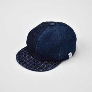 ベースボールキャップ メンズ レディース 帽子 TheFactoryMade ファクトリーメイド 藍染め SASHIKO Brim CAP 刺し子ブリムキャップ|homeroortega|02