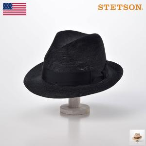 ストローハット 中折れ メンズ 麦わら帽子 フェドラ STETSON(ステットソン) チャールストン...