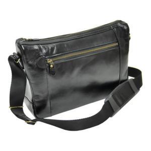 (国産)(平野鞄)BLAZER CLUB(ブレザークラブ) オイルヌメ革ショルダーバッグ 16286/01(黒)(B5対応)(メール便不可)|homeshop