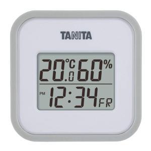 TANITA(タニタ) デジタル温湿度計 TT-558-GY グレー 壁掛け 時計付き 卓上 マグネ...