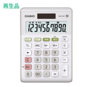 (メーカー再生品)カシオ W税率電卓 ホワイト MW-100T-WE-N 10桁 (メール便不可)|homeshop