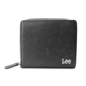 財布 メンズ Lee リー 二つ折り財布 ラウンドファスナー 0520371 ブラック(BK) (メール便不可)|homeshop