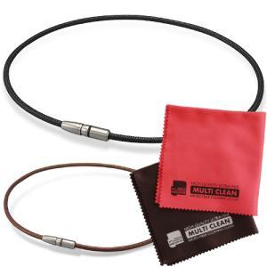 ★ Phiten RAKUWA BULLET 磁気チタンネックレスとマイクロファイバークロス(2枚組...