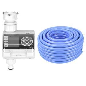(代引き不可)(ガーデン用品セット)藤原産業 セフティ−3 散水タイマー スタンダード SST-3 & セフティ−3 耐寒耐圧耐藻ホース 30m TTTH-1530 (メール便不可)