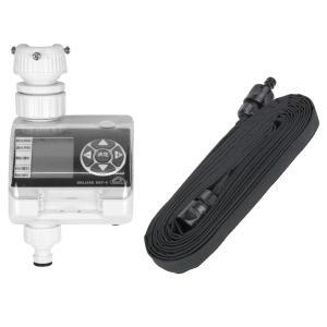 [ガーデン用品セット] 藤原産業 セフティ−3 散水タイマー デラックス SST-4 & セフティ−3 自在灌水ホース 7.5m (メール便不可)