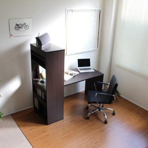 パソコンデスク オフィスデスク 木製 ハイタイプ 省スペース ラック一体型 おしゃれ 北欧 ワーク 135 ダークブラウン|homestyle|02