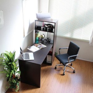 パソコンデスク オフィスデスク 木製 ハイタイプ 省スペース ラック一体型 おしゃれ 北欧 ワーク 135 ダークブラウン|homestyle|04