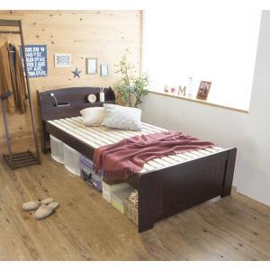 天然木パイン材棚付きすのこベッド シングル ホワイト|homestyle