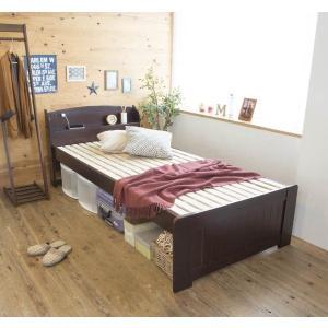 天然木パイン材棚付きすのこベッド セミダブル ライトブラウン|homestyle