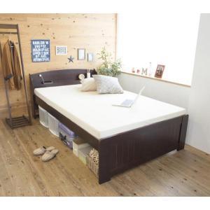 天然木パイン材棚付きすのこベッド セミダブル ホワイト|homestyle