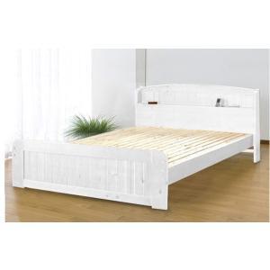 天然木パイン材棚付きすのこベッド ダブル  ホワイト|homestyle