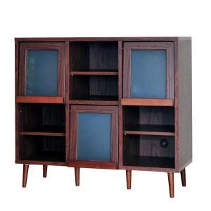 レトロ調家具シリーズ ディスプレイキャビネットPU(幅110センチタイプ)|homestyle