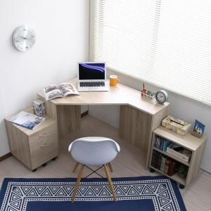 書斎机 オフィスデスク パソコンデスク L字型 コーナーデスク ハイタイプ コーナー コンパクト 省スペース 机 l字型の写真