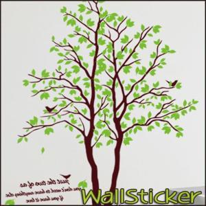 ウォールステッカー 木 緑 鳥 おしゃれ 壁紙 シール 2枚セット 壁シール 壁紙 北欧