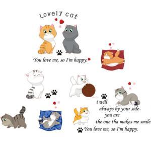 ウォールステッカー 10匹の猫 シール式 装飾 おしゃれ 壁紙 はがせる ペットショップ 子供部屋 ...