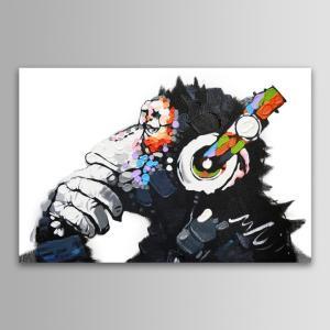 チンパンジー 壁掛け絵画 動物キャンバス絵画 ファブリックパネル 壁飾り 絵 アートパネル モノトー...