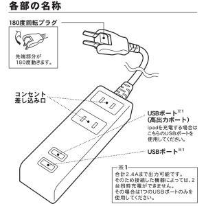 コンセント2個口 USB2個口 1.5mタップ...の詳細画像2