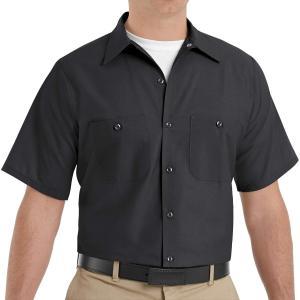 RED KAP SHORT SLEEVE WORK SHIRTS(レッドキャップ半袖ワークシャツ) (Mサイズ, BK(ブラック))|homeyayafutenn