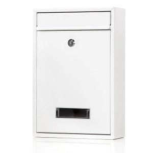 Jssmst(ジェスマット) メールボックス ポスト 郵便受け 壁掛け キーロック式 鍵付き 金属製 Mail-06 (ホワイト キーロック)|homeyayafutenn
