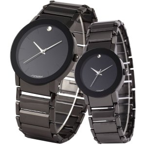 ampm24?2?pcs watches for Couple LoversメンズLady Women Black Quartz Wrist Watc|homeyayafutenn
