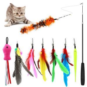 猫じゃらし ねこおもちゃ 猫のおもちゃ じゃれ猫 釣竿(1本)& 羽根(8羽)ぶらぶら ペットグッズ ねこ用品 homeyayafutenn