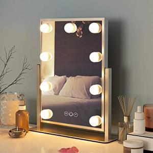 FENCHILIN 化粧鏡 女優ミラー 卓上鏡 ハリウッドミラー 三色照明モード 明るさ調節可能 9個LED電球付き 10倍拡大鏡付き 360度回転(|homeyayafutenn