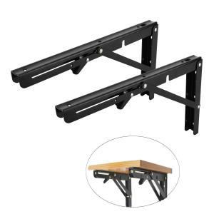 8MILELAKE 2本 棚受け DIYブラケット 折り畳み式棚受け金具 棚ヒンジ壁掛けスペース節約 木の板 ブラケット耐荷重75kg 黒 (35 x|homeyayafutenn