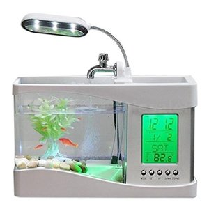 Yosoo 金魚の水槽セット 熱帯魚水槽セット 水族館 水槽 魚飼育 文具収納 LEDライト 水槽 ライト ペット用品 時間/日付/温度表示 水生植物|homeyayafutenn