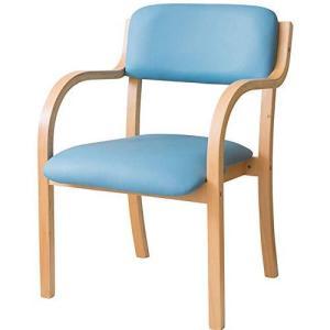 アイリスプラザ チェア 椅子 広い座面 疲れにくい お尻に優しい 掴みやすい肘掛け 積み重ね ダイニングチェア 工具付き 木製 ブルー STKC-79 homeyayafutenn
