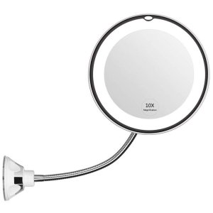 フェリモア 化粧鏡 メイクミラー 10倍 拡大鏡 LED 回転 フレキシブルアーム 壁付けミラー (シルバー) homeyayafutenn