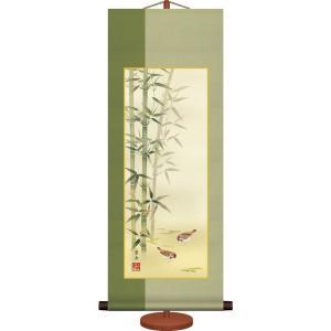 ミニ掛け軸-竹に雀(年中掛)/根本 葉舟(専用飾りスタンド付き)和風モダン花鳥画 コンパクト掛軸|honakote