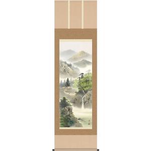 掛け軸 彩色山水画 掛軸-緑風水明/伊藤渓山(尺五)床の間 和室 オシャレ モダン 高級 表装 ギフト インテリア 贈答 honakote