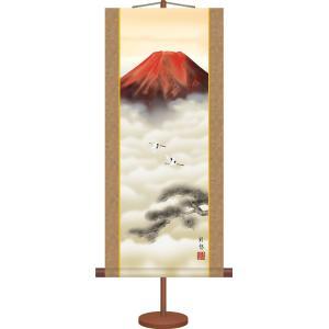 ミニ掛け軸-赤富士/宇田川 彩悠(専用飾りスタンド付き)和風モダン 山水画掛軸 コンパクト|honakote