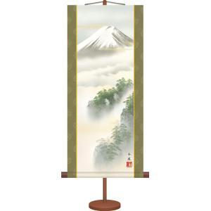 ミニ掛け軸-黎明富士/熊谷 千風(専用飾りスタンド付き)和風モダン 山水画掛軸 コンパクト|honakote