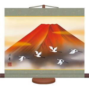ミニ掛け軸-赤富士飛翔/加藤 洋峯(専用飾りスタンド付き)和風モダン 山水画掛軸 コンパクト|honakote