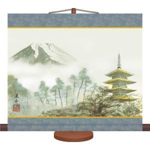 ミニ掛け軸-富士塔景/伊藤 渓山(専用飾りスタンド付き)和風モダン 山水画掛軸 コンパクト|honakote