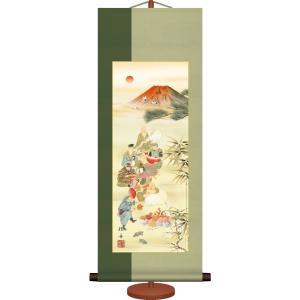 ミニ掛軸-開運七福神/長江 桂舟(専用飾りスタンド付き)和風モダン掛け軸 招福開運画 コンパクト|honakote