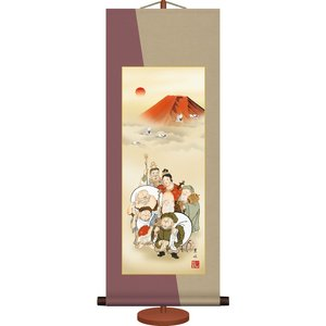 ミニ掛け軸-七福神/緒方 葉水(専用飾りスタンド付き)和風モダン掛軸 慶祝縁起 コンパクト|honakote