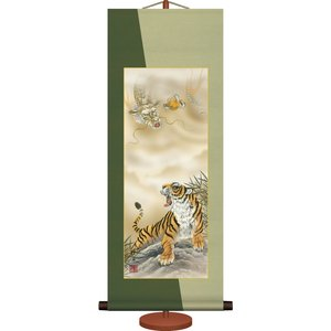 ミニ掛け軸-龍虎/長江 桂舟(専用飾りスタンド付き)和風モダン掛軸 慶祝縁起 コンパクト honakote