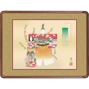 隅丸和額-立雛/伊藤 渓山 [長押 壁掛け 女桑額 節句画額]