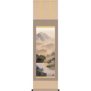 掛け軸 水墨山水画 掛軸-湖畔黎明/熊谷千風(尺三)床の間 和室 御洒落 モダン 飾り 表装 日本製 インテリア|honakote